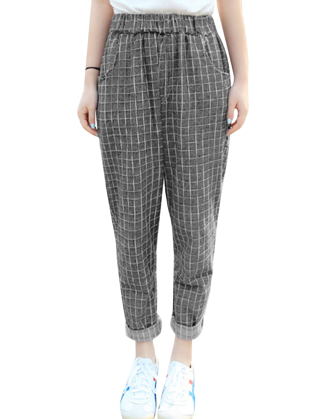Lady Elastic Waist Plaids Pattern Casual Cropped Pants Dark Gray XS