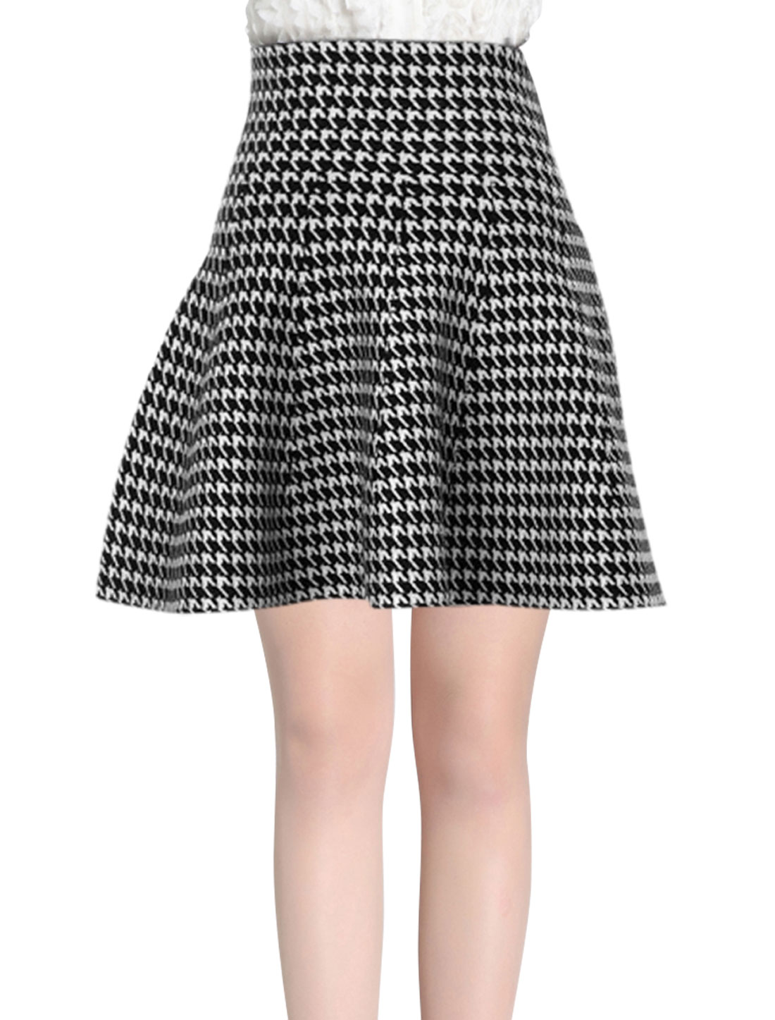 Women Houndstooth Pattern High Waist Knit Full Skirt Black White XS