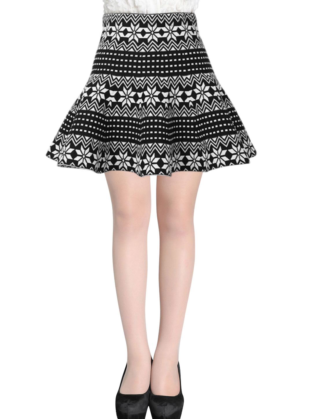Women High Waist Snowflake Pattern Knit Full Skirt Black White XS