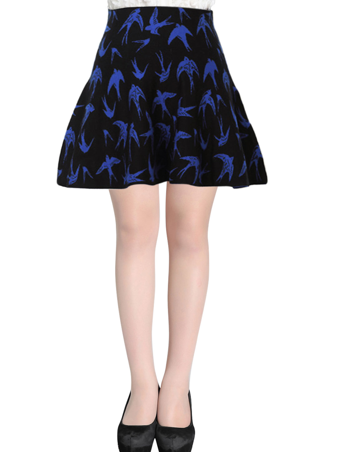 Women High Waist Design Stretchy Birds Pattern Knit Skirt Black XS