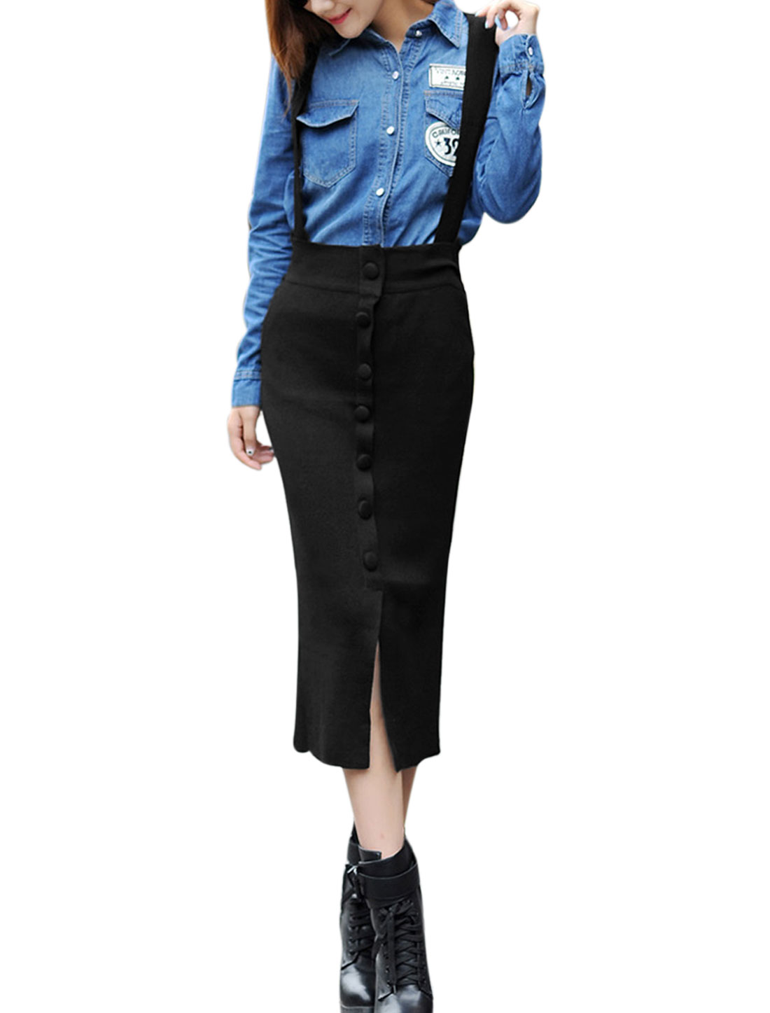 Women High Waist Button Decor Front Knit Suspender Skirt Black XS