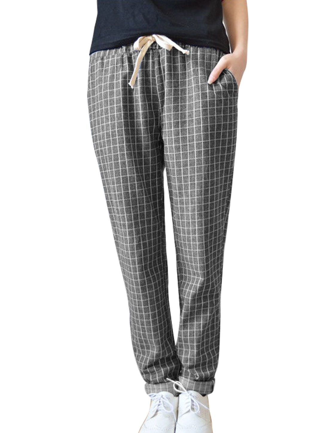 Lady Elastic Drawstring Waist Plaids Pattern Casual Cropped Pants Dark Gray XS