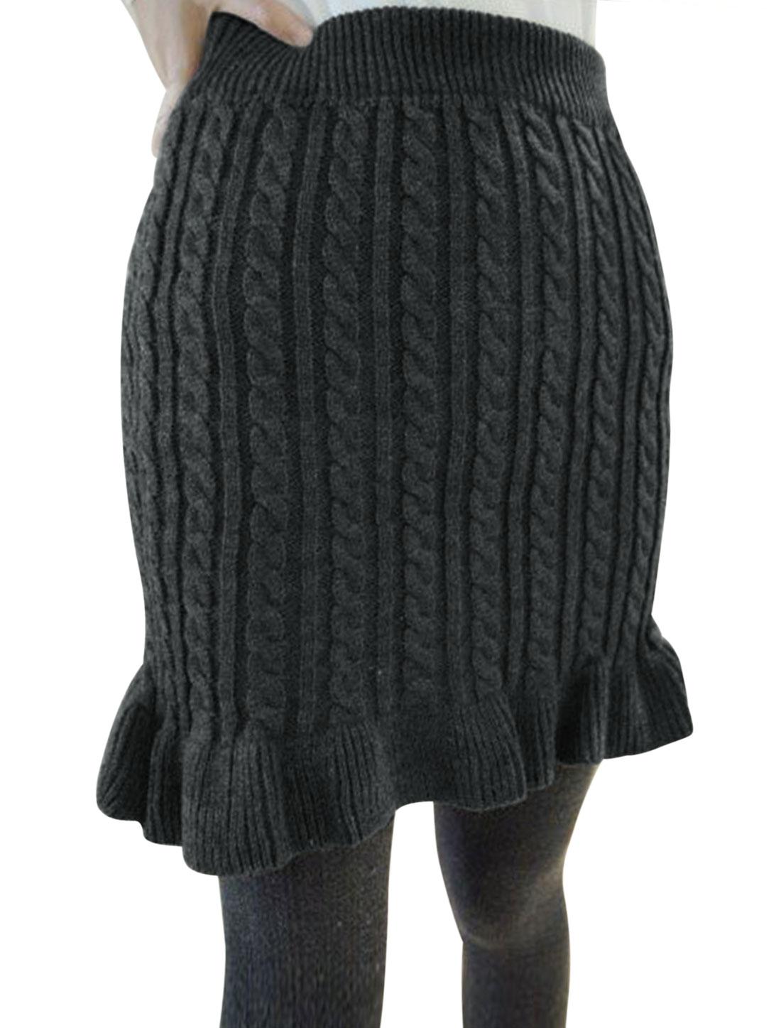 Women Cable Rib Knit Design Flouncing Hem Knitted Skirt Dark Gray XS