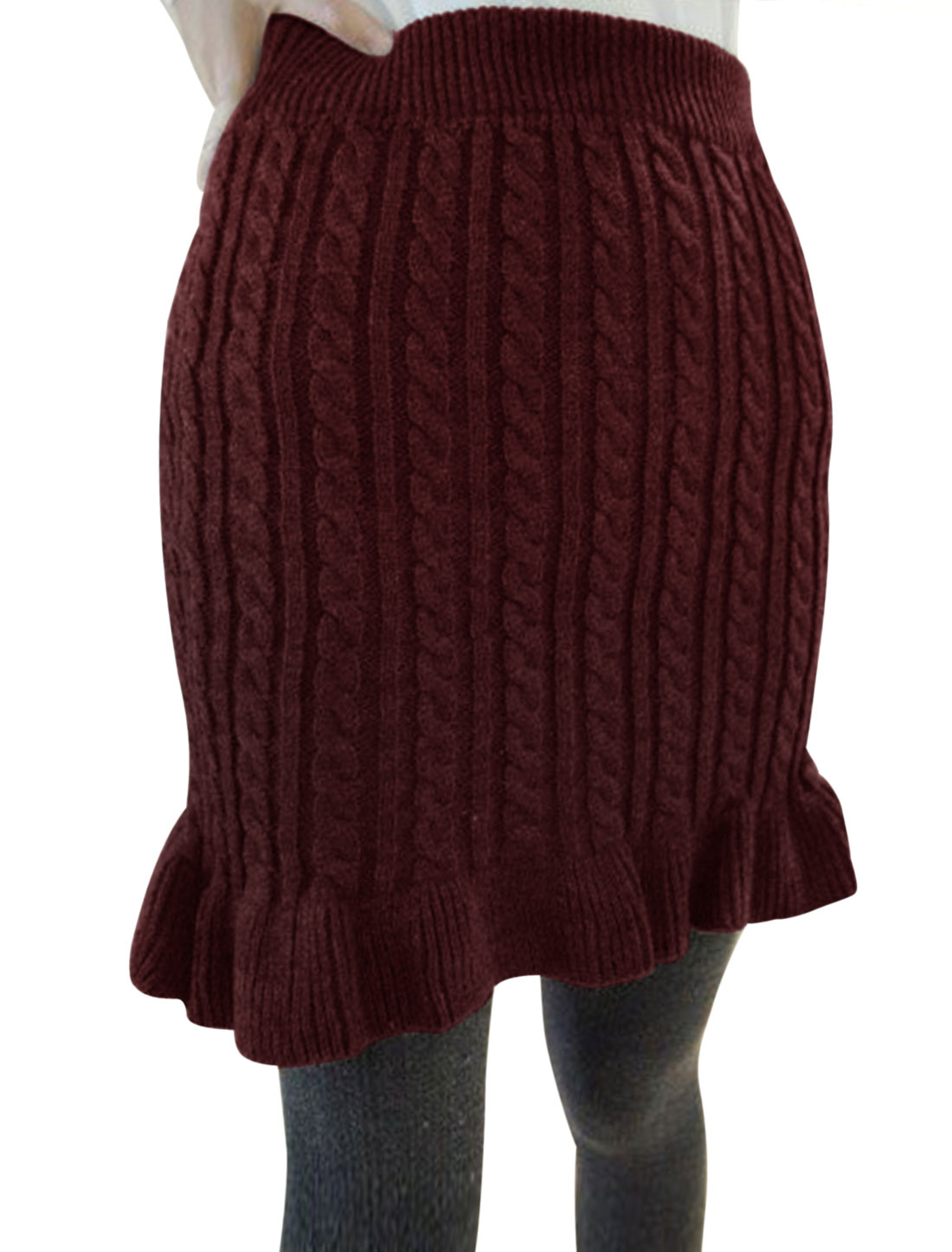 Women Cable Rib Knit Design Fit and Flare Knitted Skirt Burgundy XS