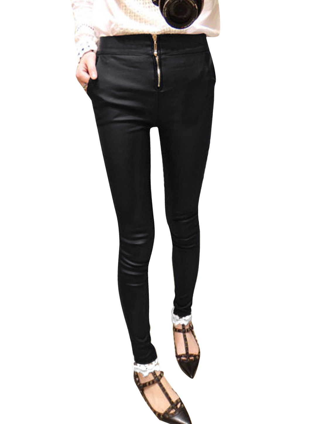 Women Zip Fly Lace Cuffs Splicing Slim Fit Pants Black XS