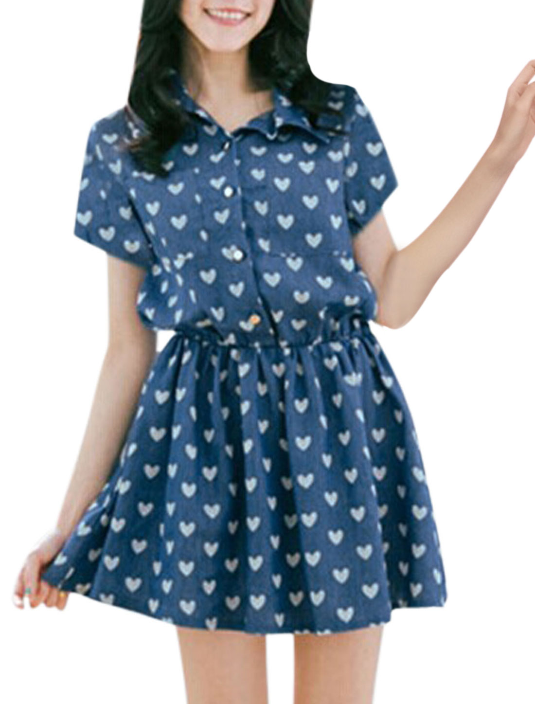 Lady Point Collar Hearts Pattern Roll Up Short Sleeve A-line Dress Blue XS
