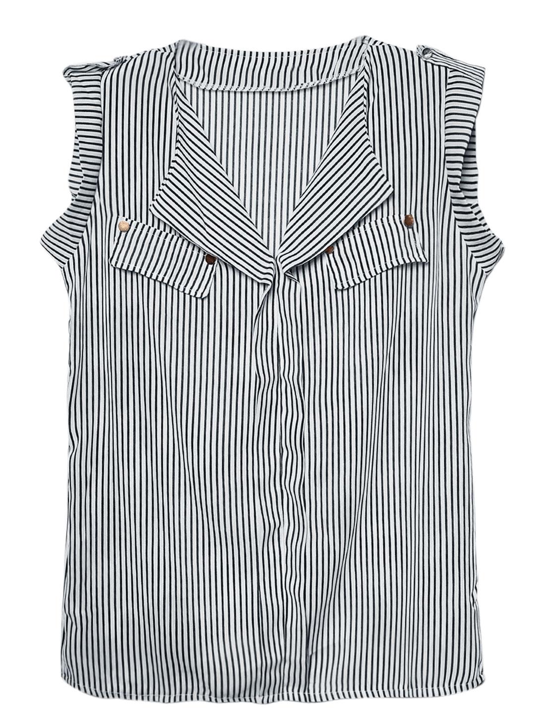 Lady Mock Bust Pocket Decor Sleeveless Stripes Chiffon Blouse Black White M