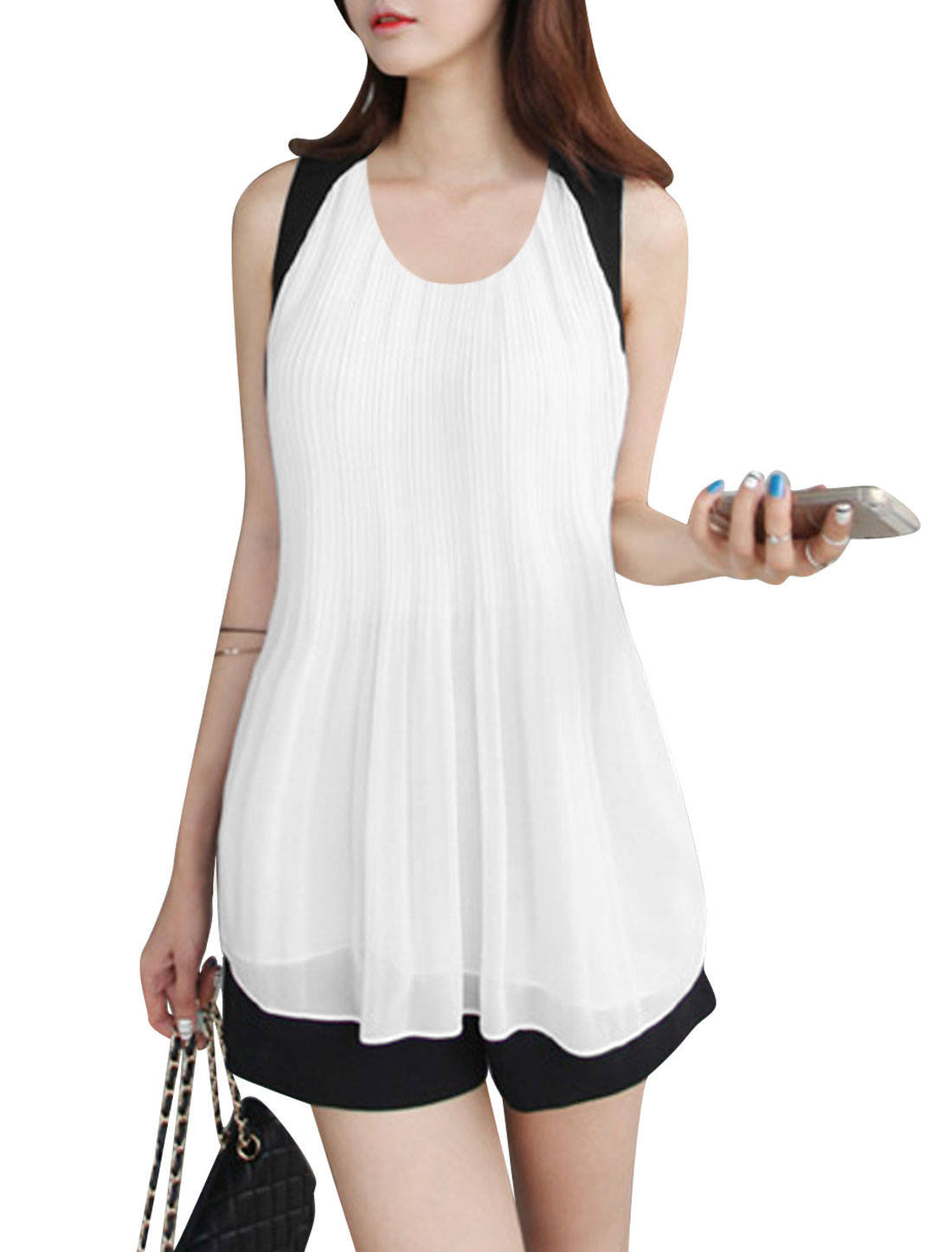 Lady Color Block Pleated Front Self Tie Strap Casual Chiffon Top White Black S