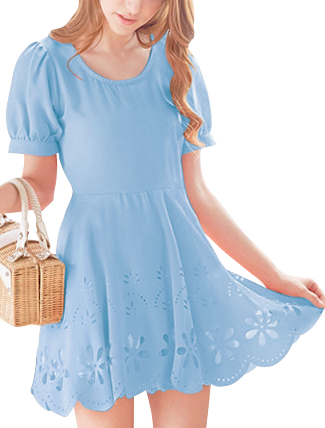 Women Short Sleeves Hollow Out Design A-line Dress Light Blue S