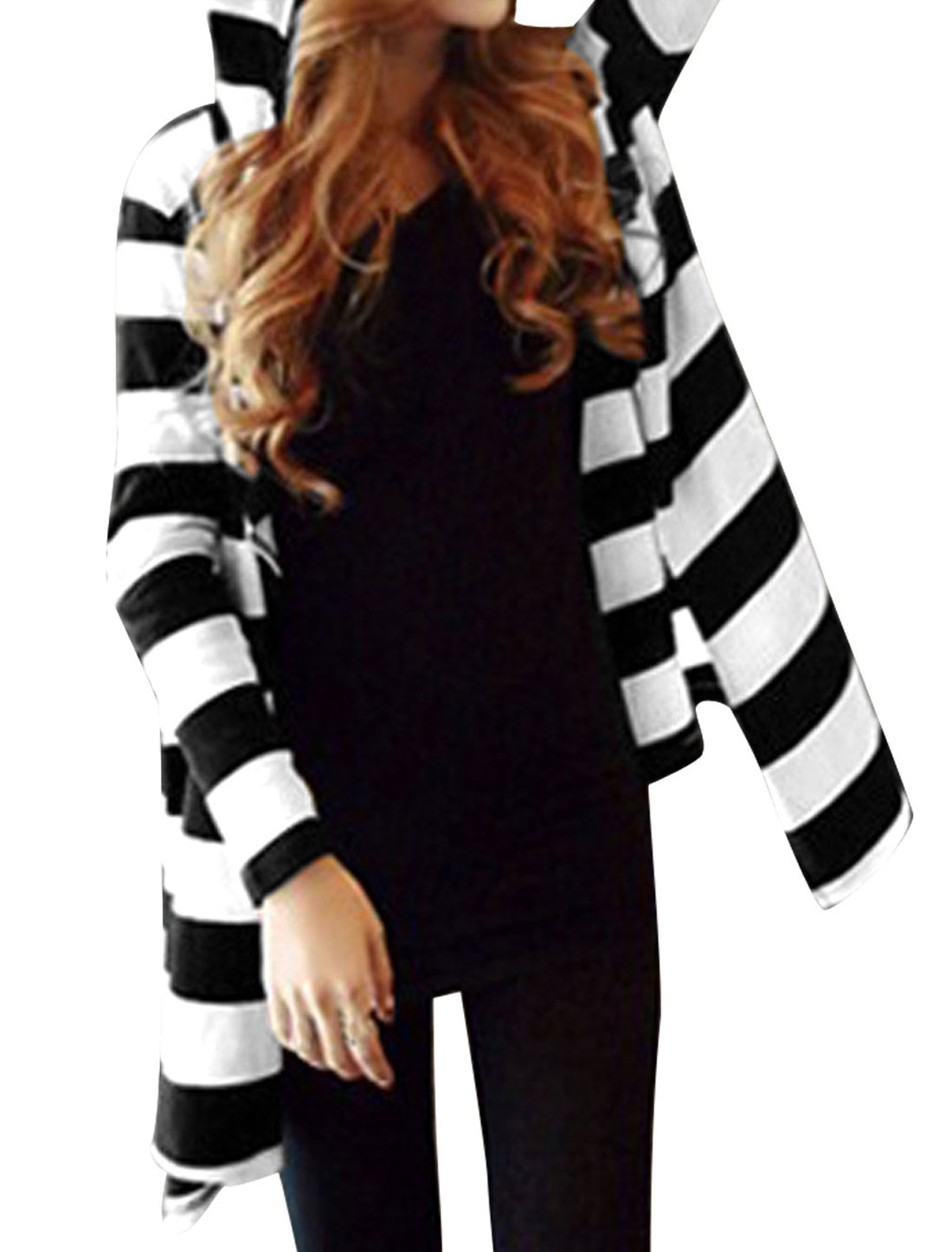 Lady Stripes Pattern Fashionable Casual Hooded Cardigan White Black S