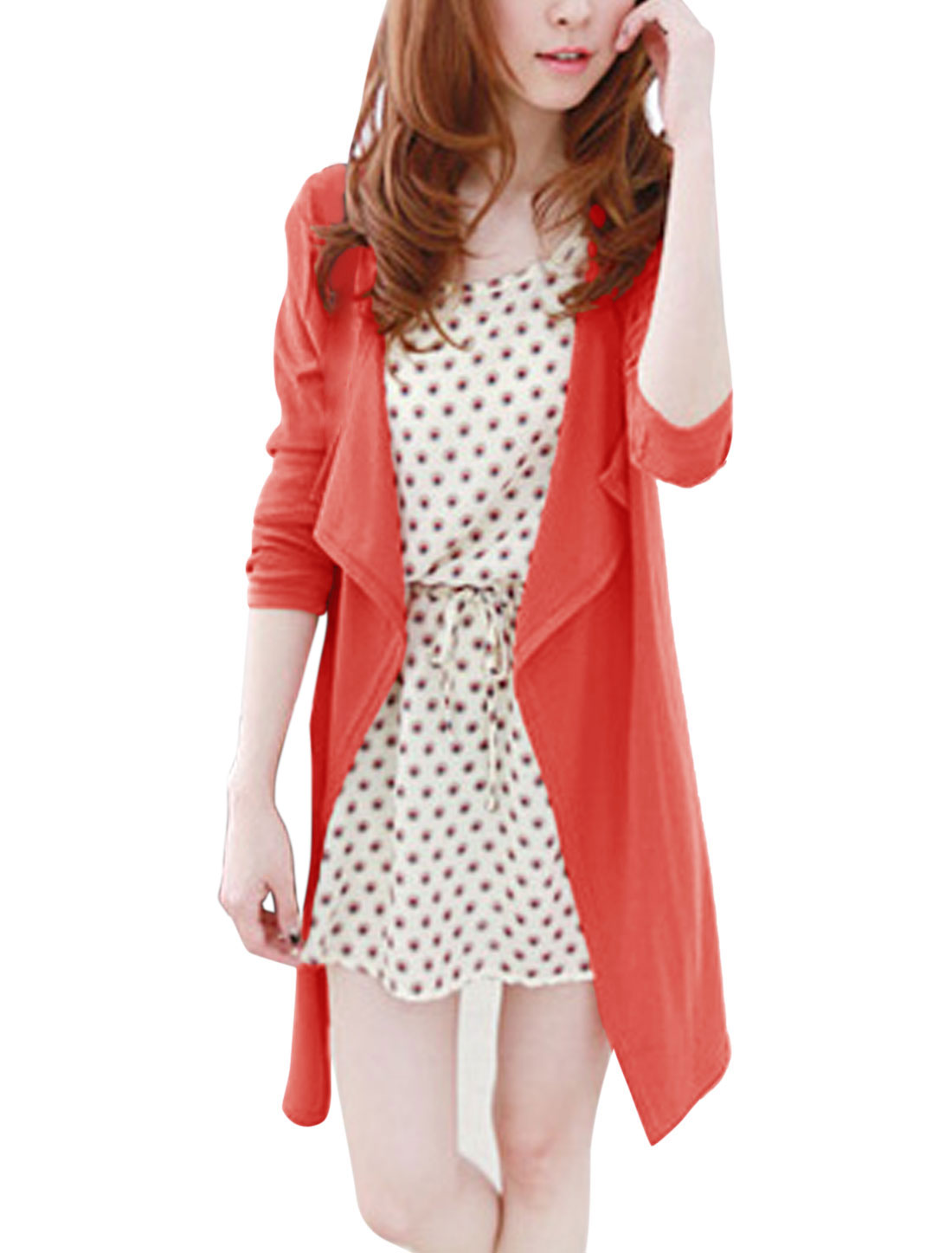 Lady Draped Buttonless Long Sleeve Leisure Cardigan Watermalon Red XS
