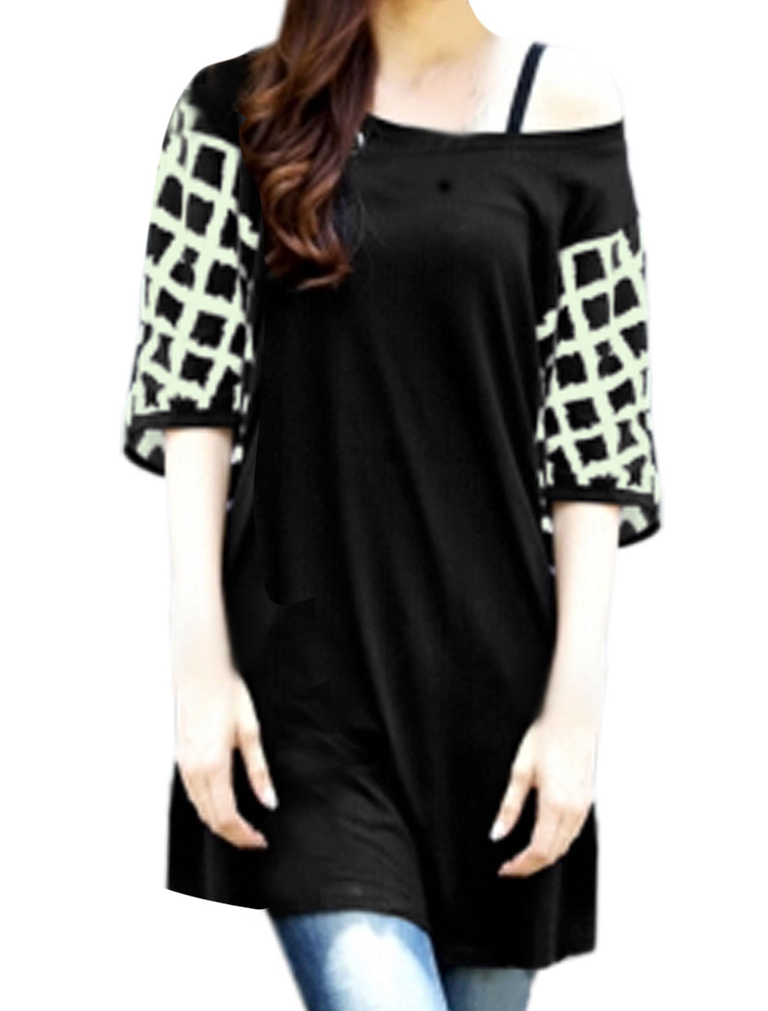 Women Round Neck Plaids Panel Short Batwing Tunic Top Black XS
