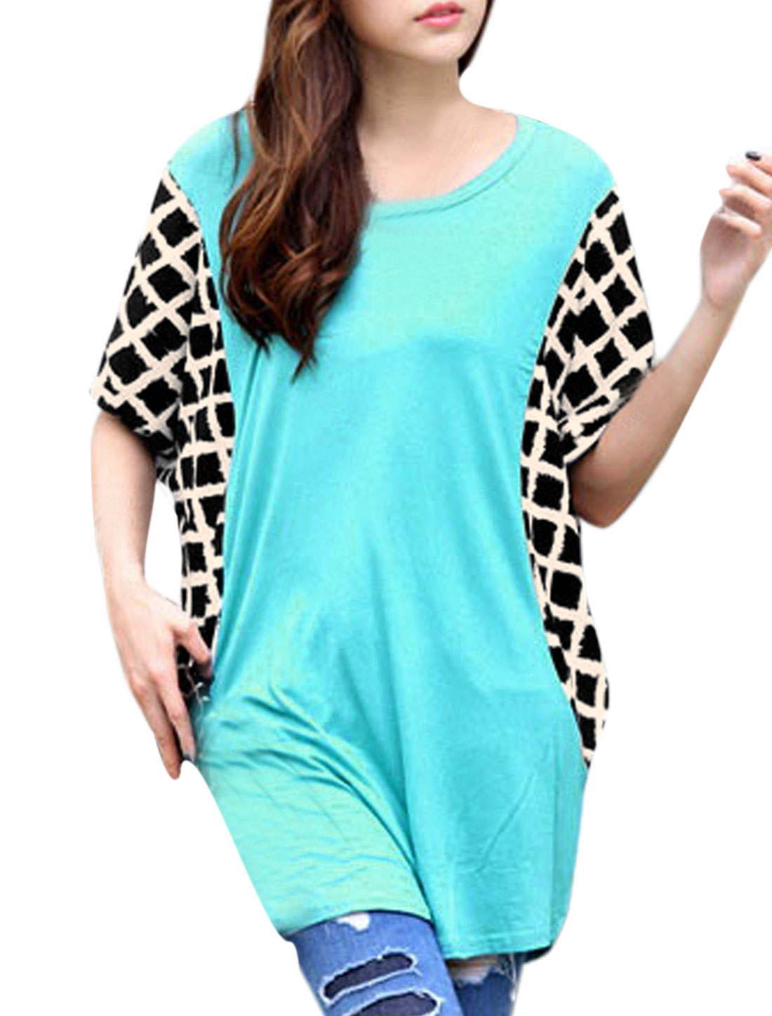 Ladies Short Batwing Sleeves Pullover Loose Tunic Top Blue XS