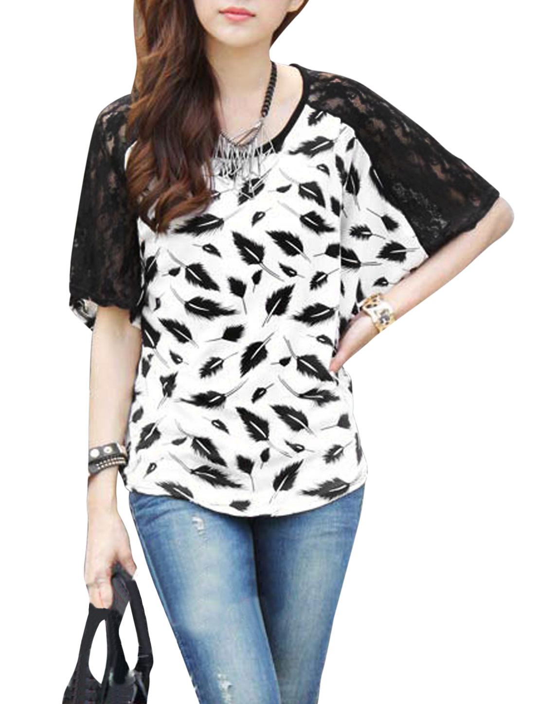Lady Batwing Sleeve Feather Pattern Lace Panel Casual Blouse White S