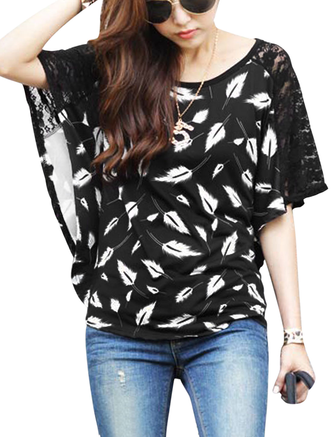 Cozy Fit Feather Pattern Casual Blouse for Lady Black S
