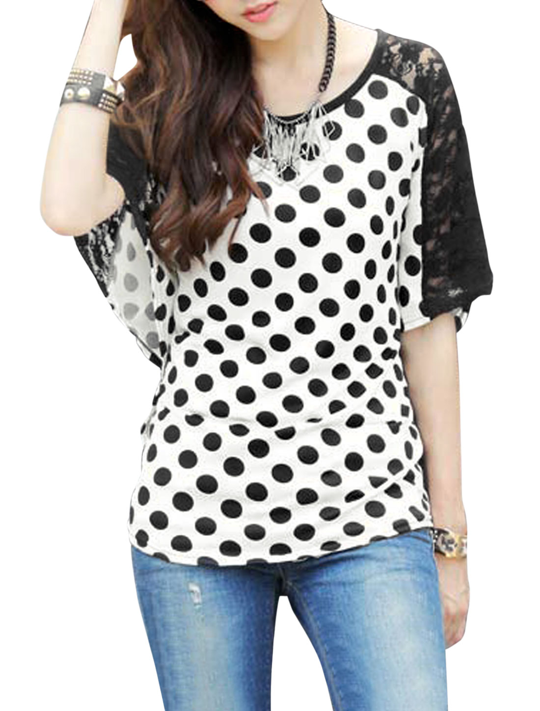 Lady Round Neck Dots Pattern Lace Panel Cozy Fit Blouse White S