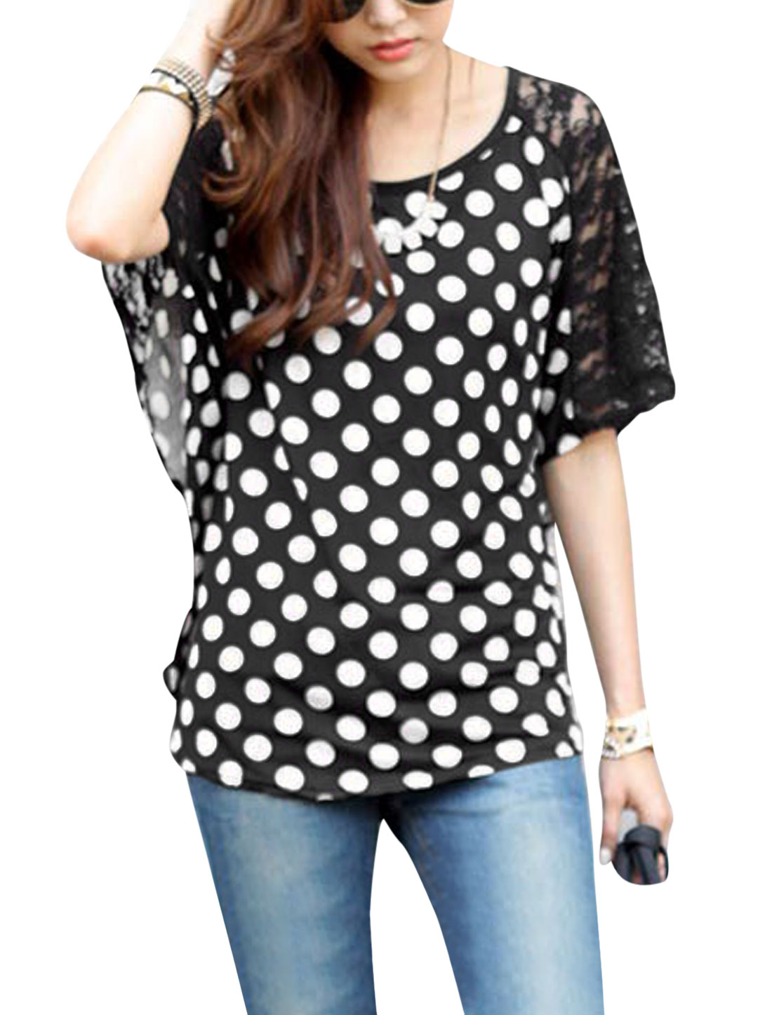 New Style Dots Pattern Casual Blouse for Lady Black S