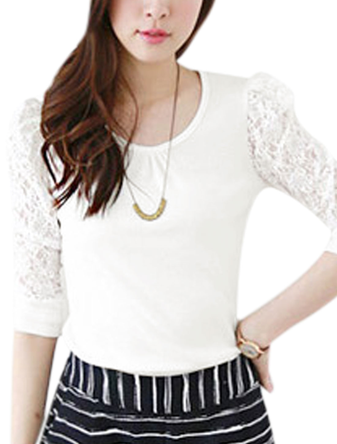 Women Round Neck 1/2 Lace Panel Design Top Shirt White S