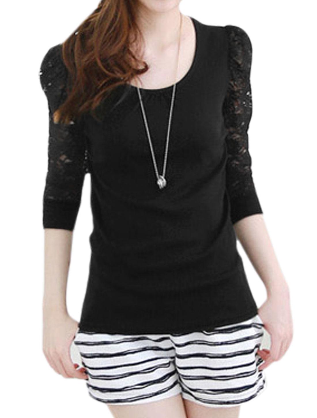 Ladies Slipover Semi Sheet Lace Sleeves Spiced Black Shirt S