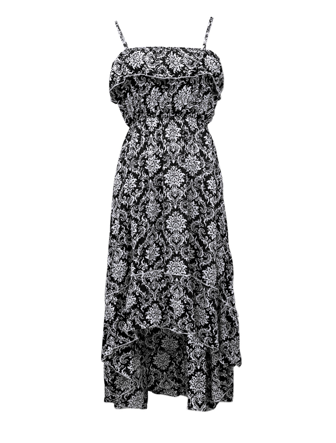 Lady Spaghetti Straps Jacquard Pattern Casual Sundress Black S
