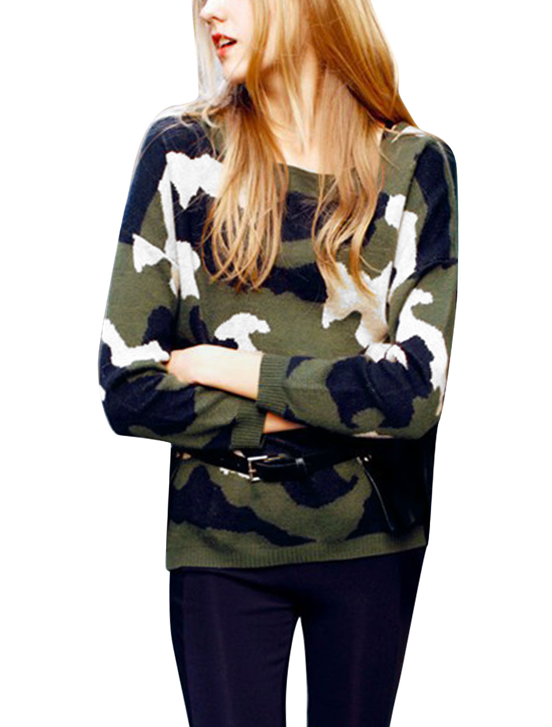 Women Round Neck Camouflage Pattern Long Sleeve Casual Sweater Multicolor S