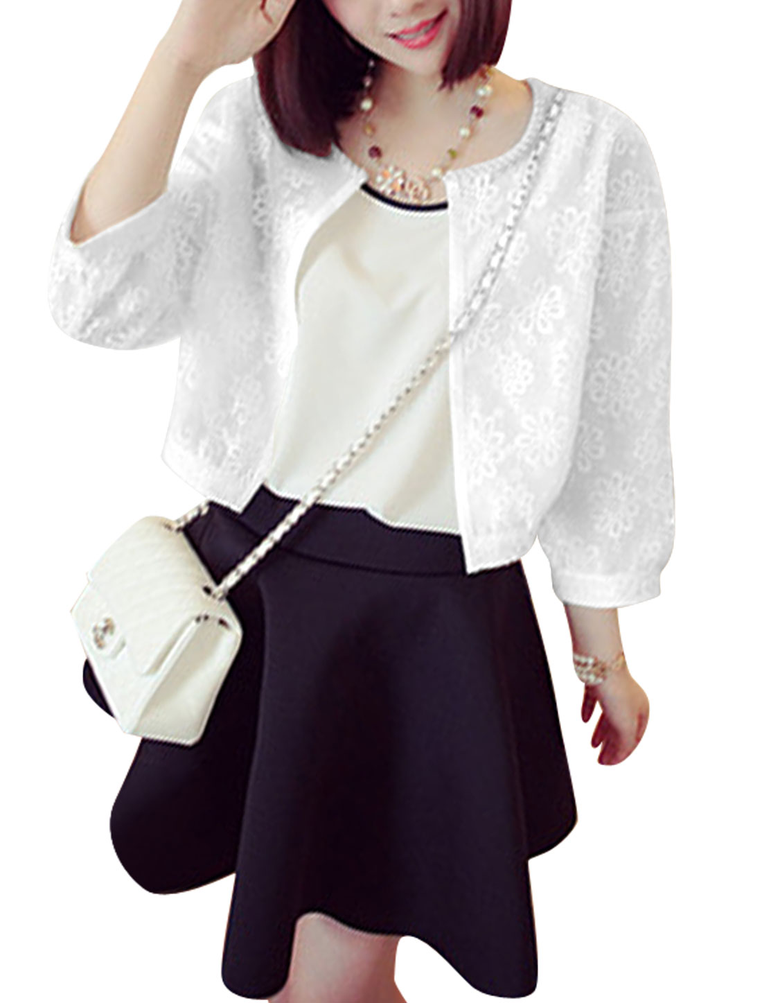 Lady 3/4 Sleeves Flower Embroidery Front Opening Organza Cardigan White XS