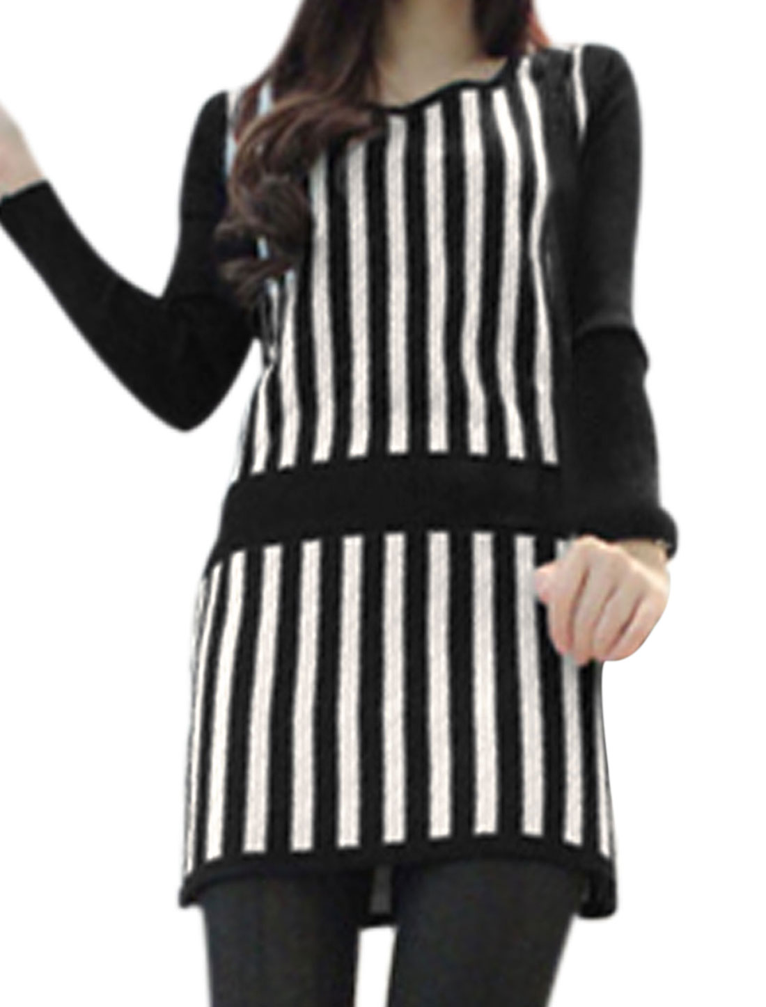 Lady Bar Striped Knit Long Sleeves Panel Tunic Dress Black White XS