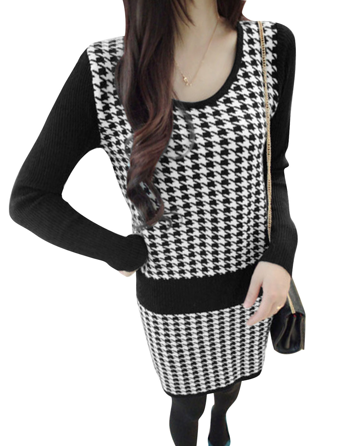 Women Knit Long Sleeves Houndstooth Pattern Panel Dress Black White XS