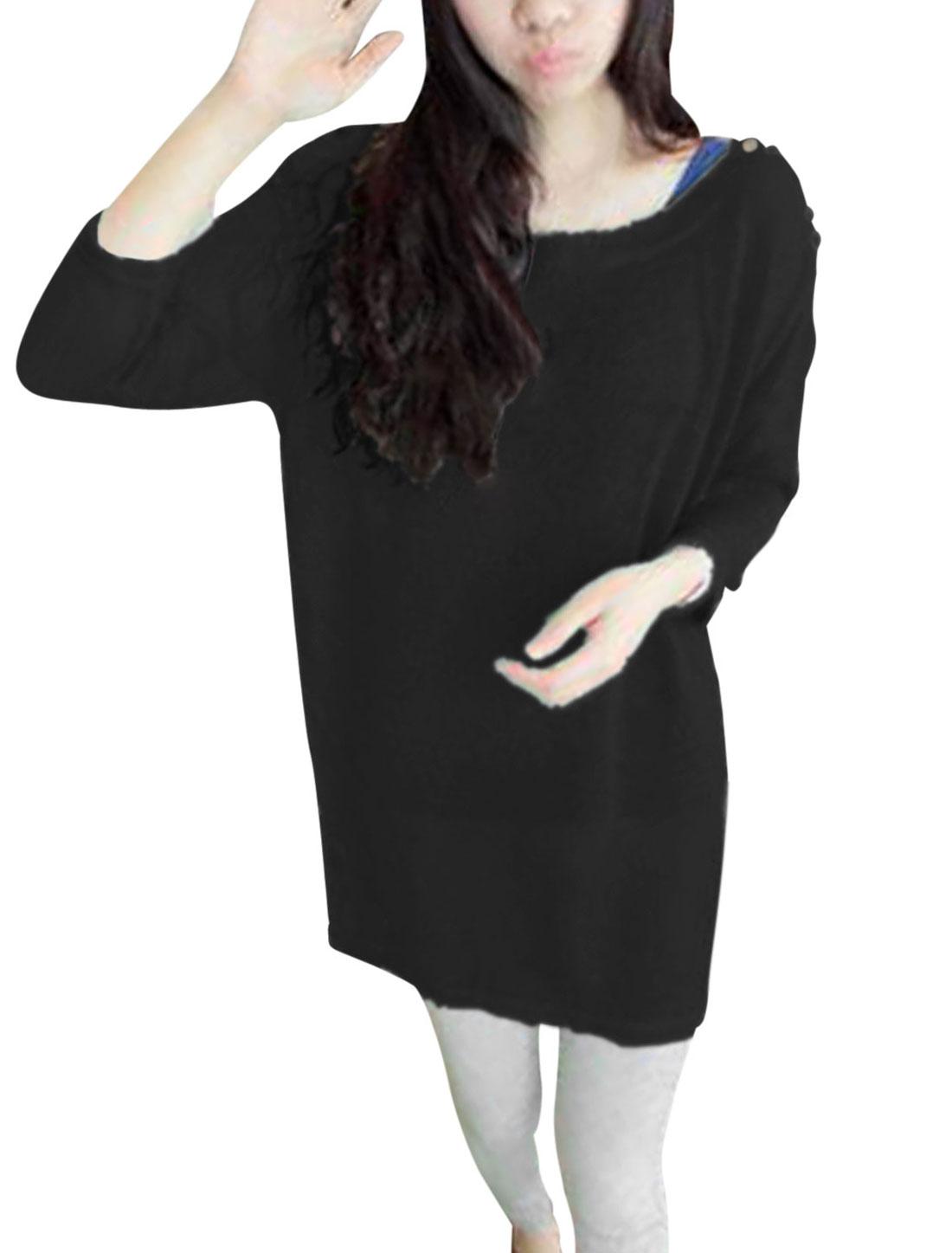 Women Boat Neck Buttons Decor Shoulder Semi Sheer Long Knit Shirt Black XS