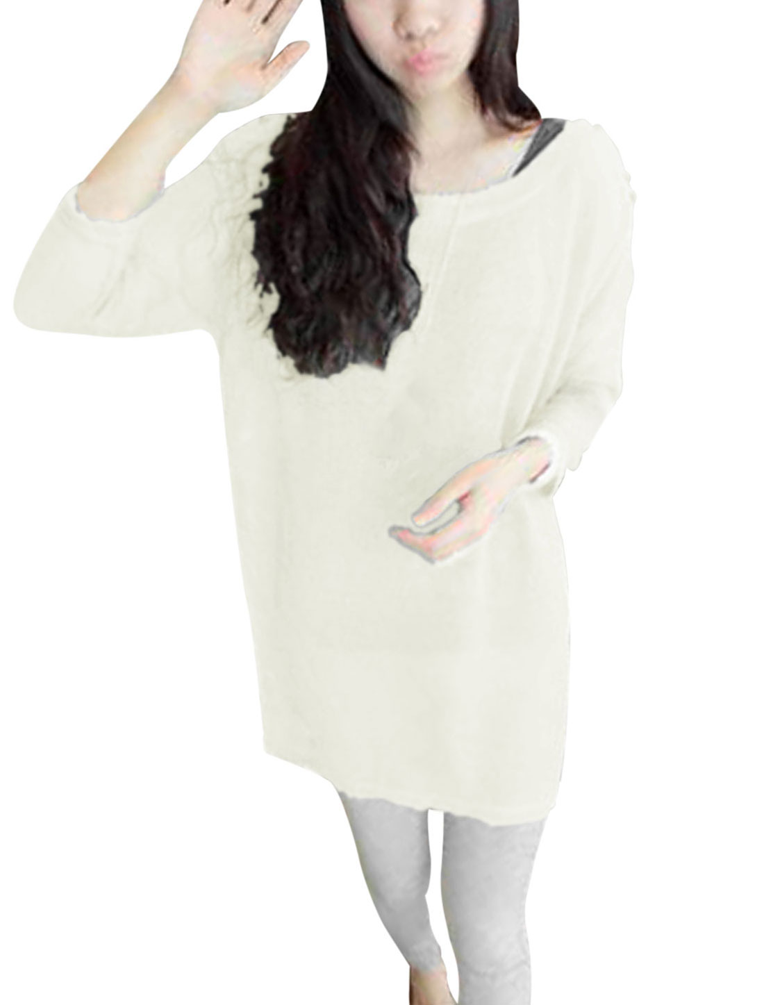 Lady Pullover Semi Sheer Long Sleeve Loose Fit Long Knit Shirt Beige XS