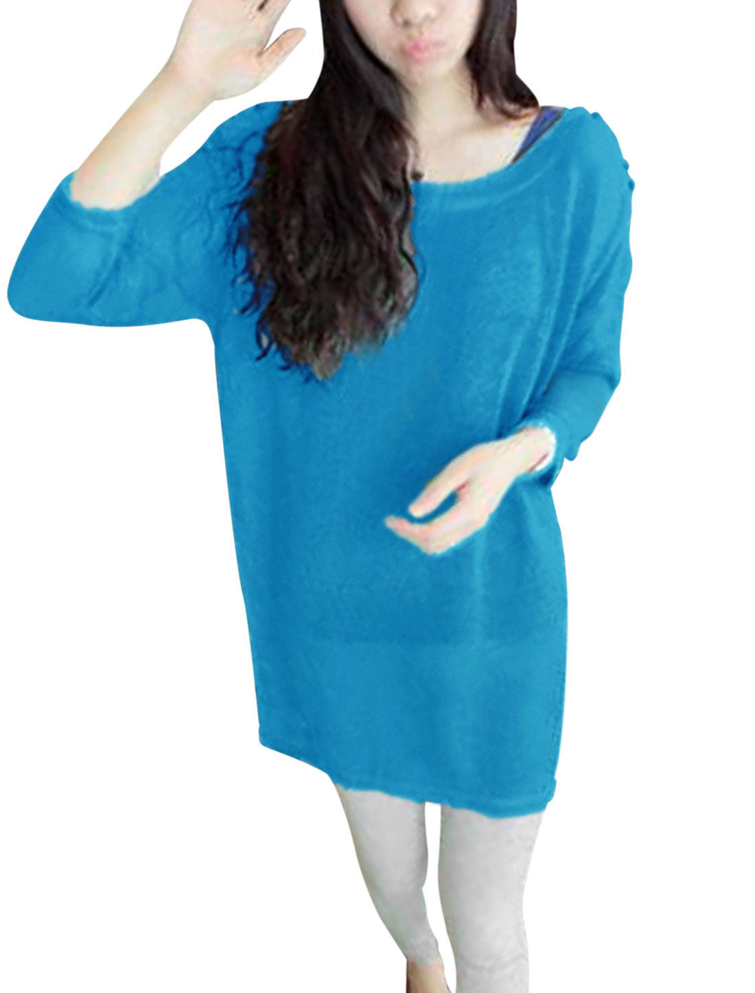 Women Boat Neck See Through Loose Fit Long Knit Shirt Turquoise XS