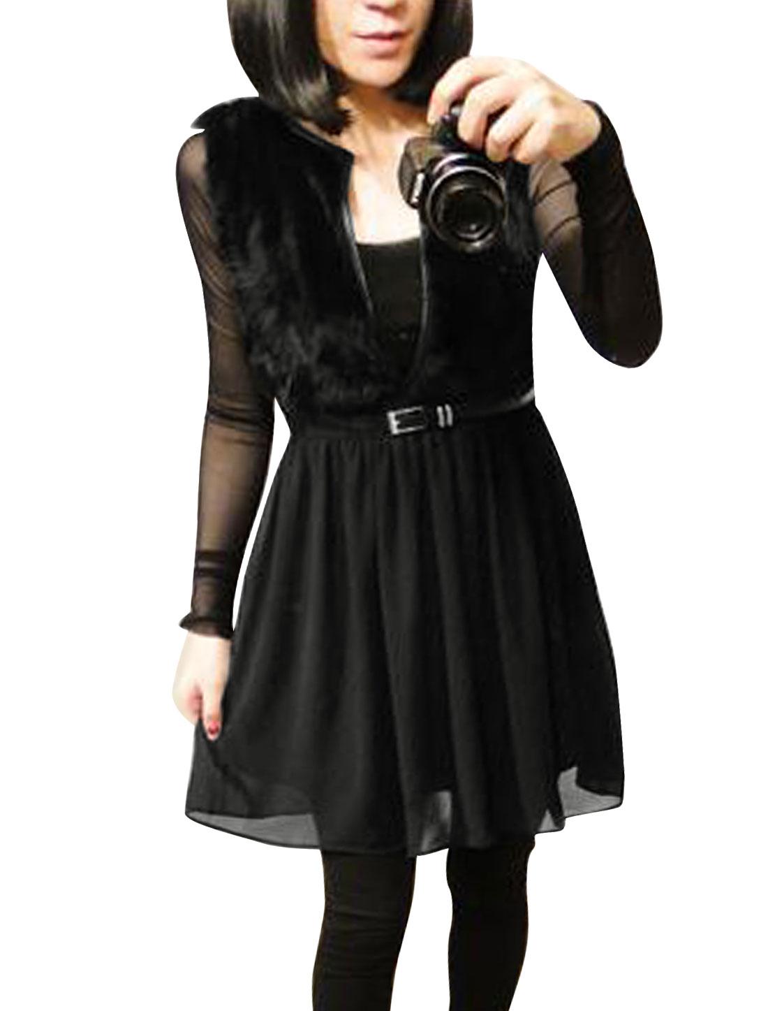Lady Long Sleeves Mesh Top w Faux Fur Decor Stretch Waist Tank Top Black XS