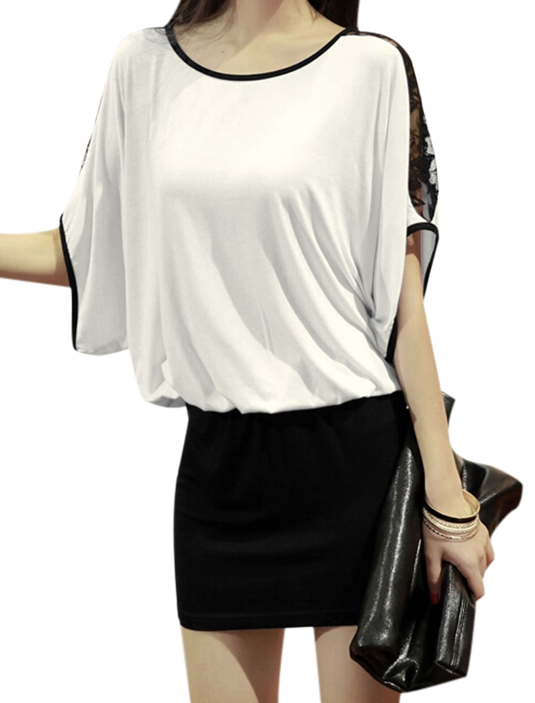 Lady Batwing Short Sleeve Lace Spliced Casual Tunic Top Black White S