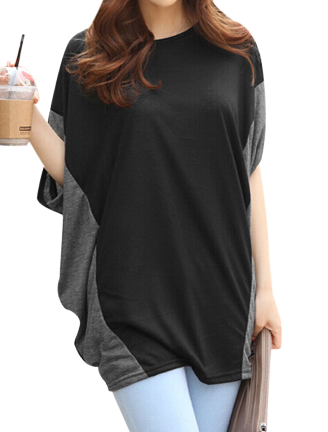 Women Short Batwing Sleeves Color Block Tunic Shirt Black XS