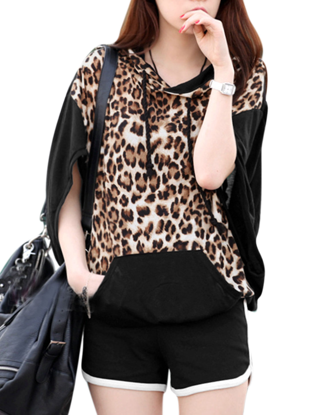 Lady Leopard Prints Shirt w Elastic Waist Shorts Black XS