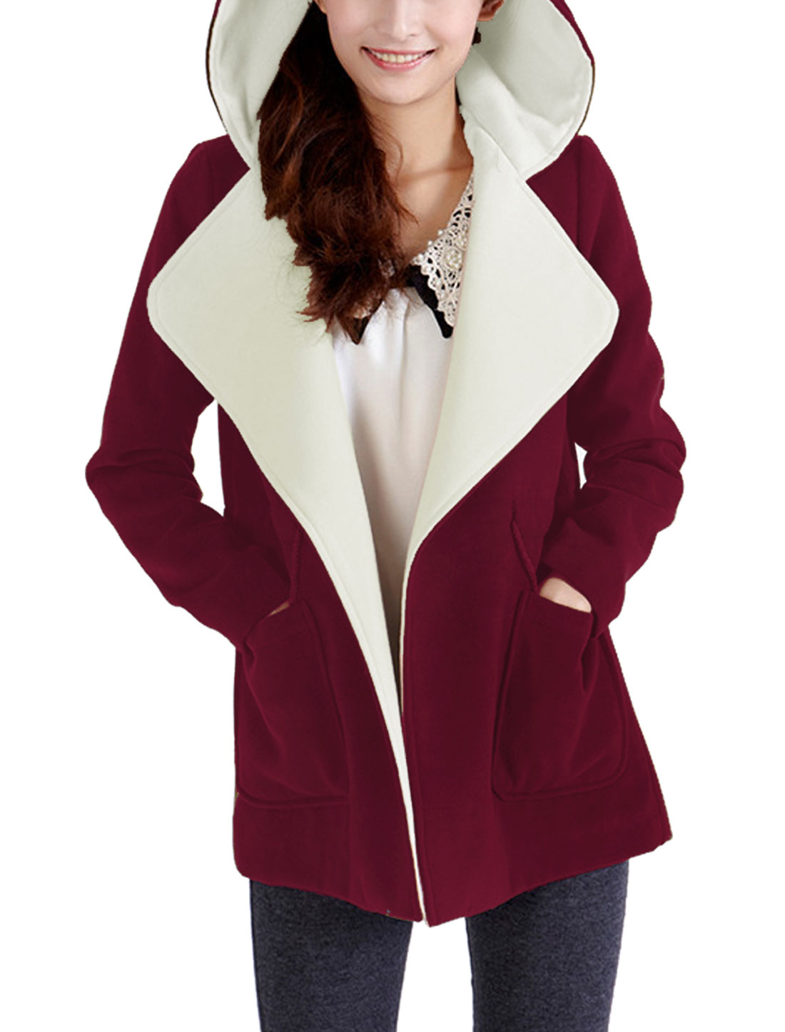 Women Turn Down Collar Long Sleeves Hooded Worsted Coat Burgundy M