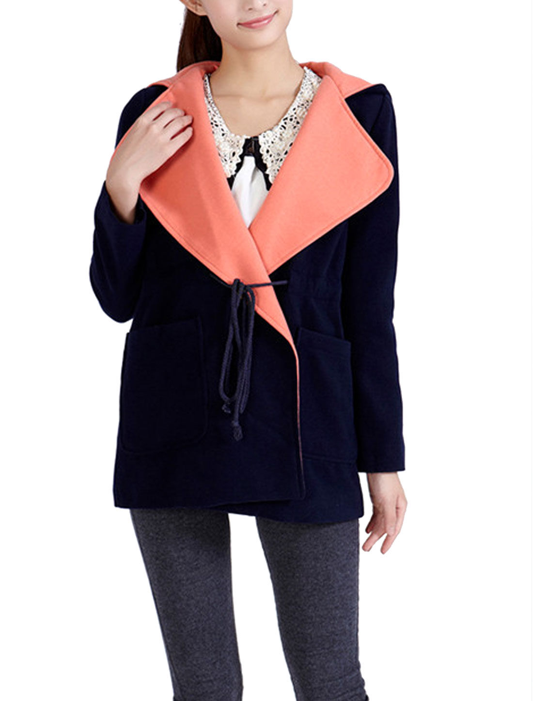 Ladies Drawstring Waist Design Long Sleeves Worsted Coat Navy Blue M