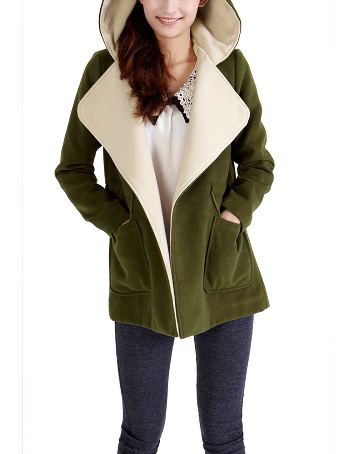 Lady Turn Down Collar Two Pocket Trench Worsted Coat Army Green L