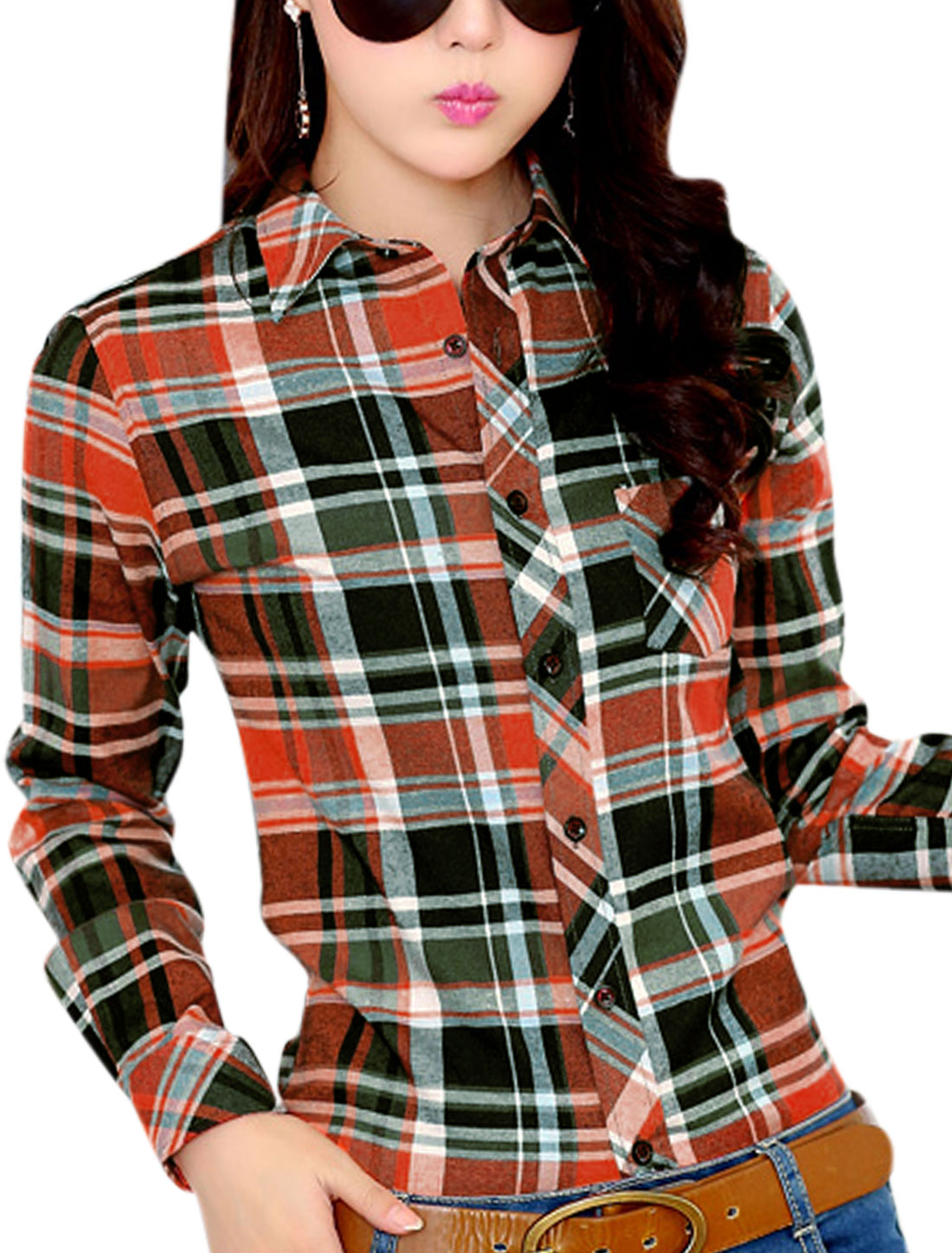 Women Plaids Pattern Buttons Closed One Bust Pocket Shirt Green Orange M