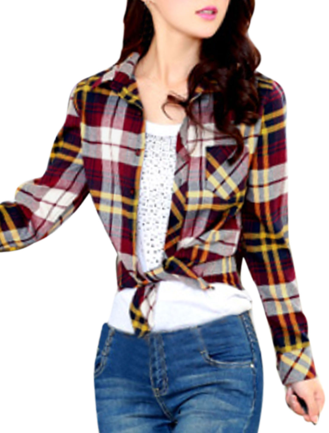Women Plaids Pattern Single Breasted One Bust Pocket Shirt Burgundy Beige M