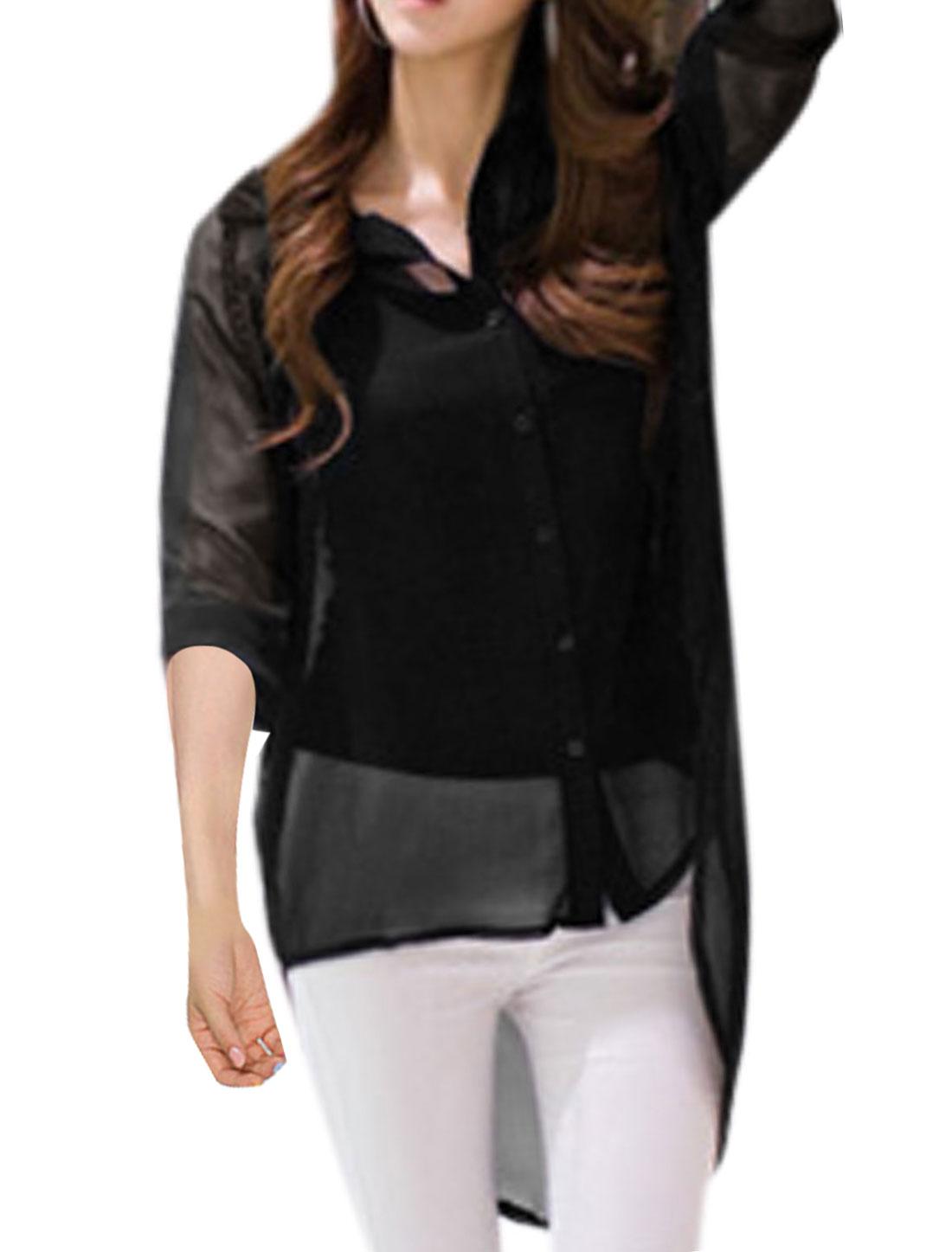 Lady Point Collar Cutout Back Semi Sheer Chiffon Blouse Black XS