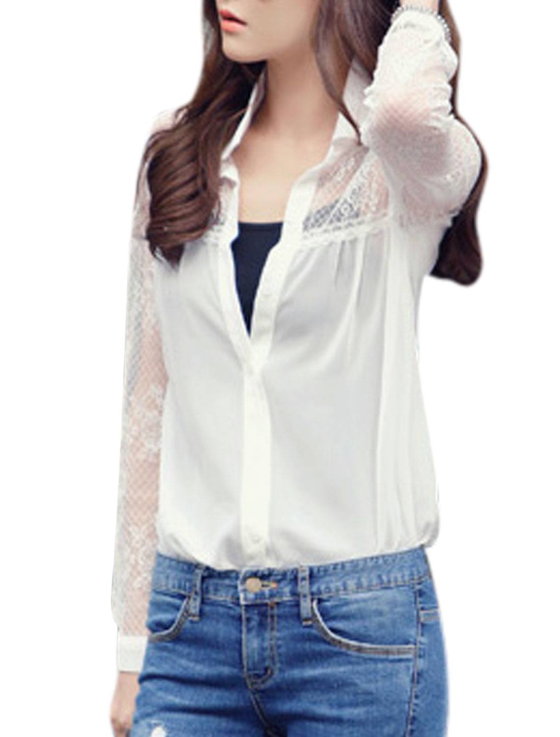 Lady Lace Panel Semi Sheer Single Breasted Long Sleeve Shirt White XS