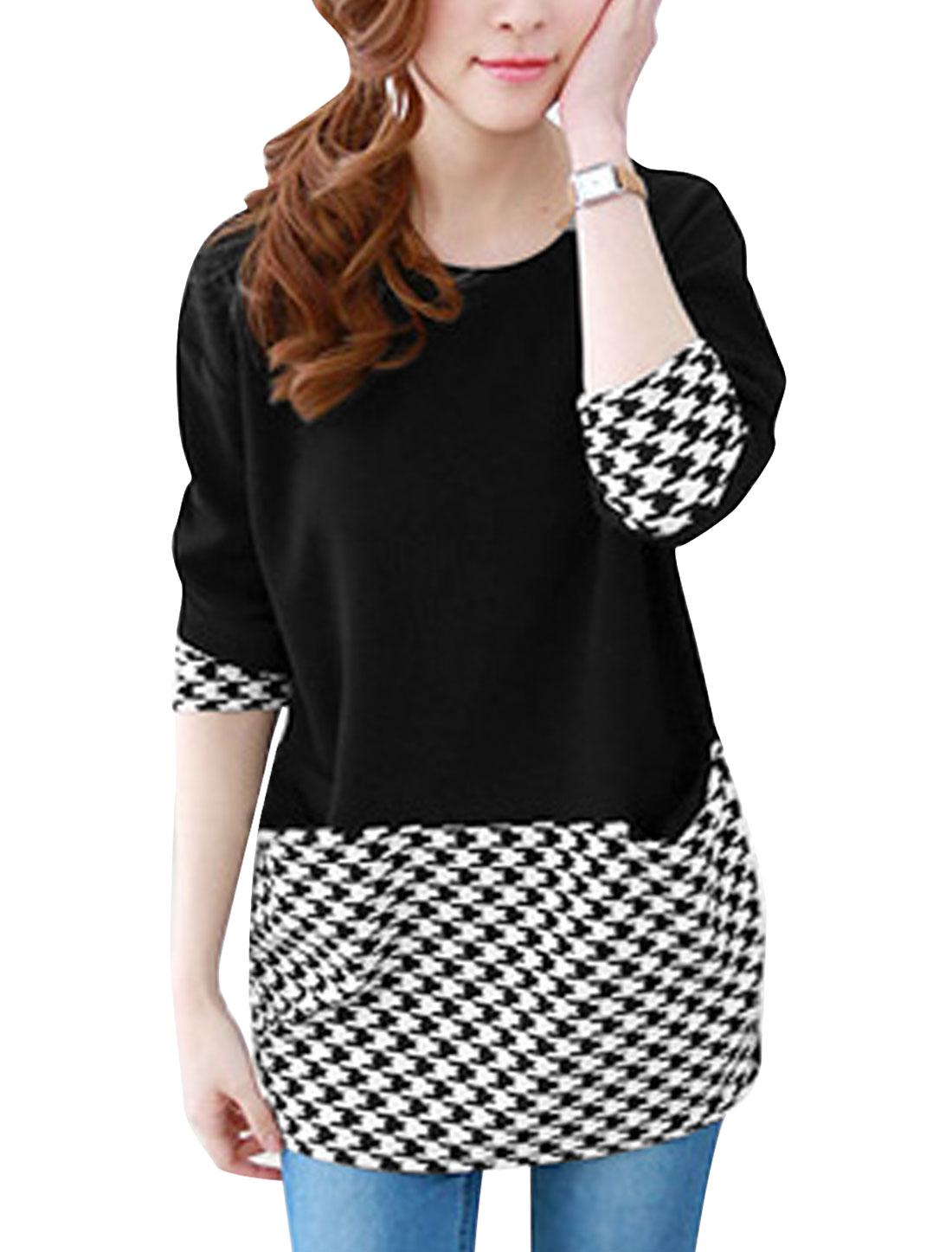 Ladies 3/4 Sleeves Houndstooth Pattern Panel Tunic Top Black S
