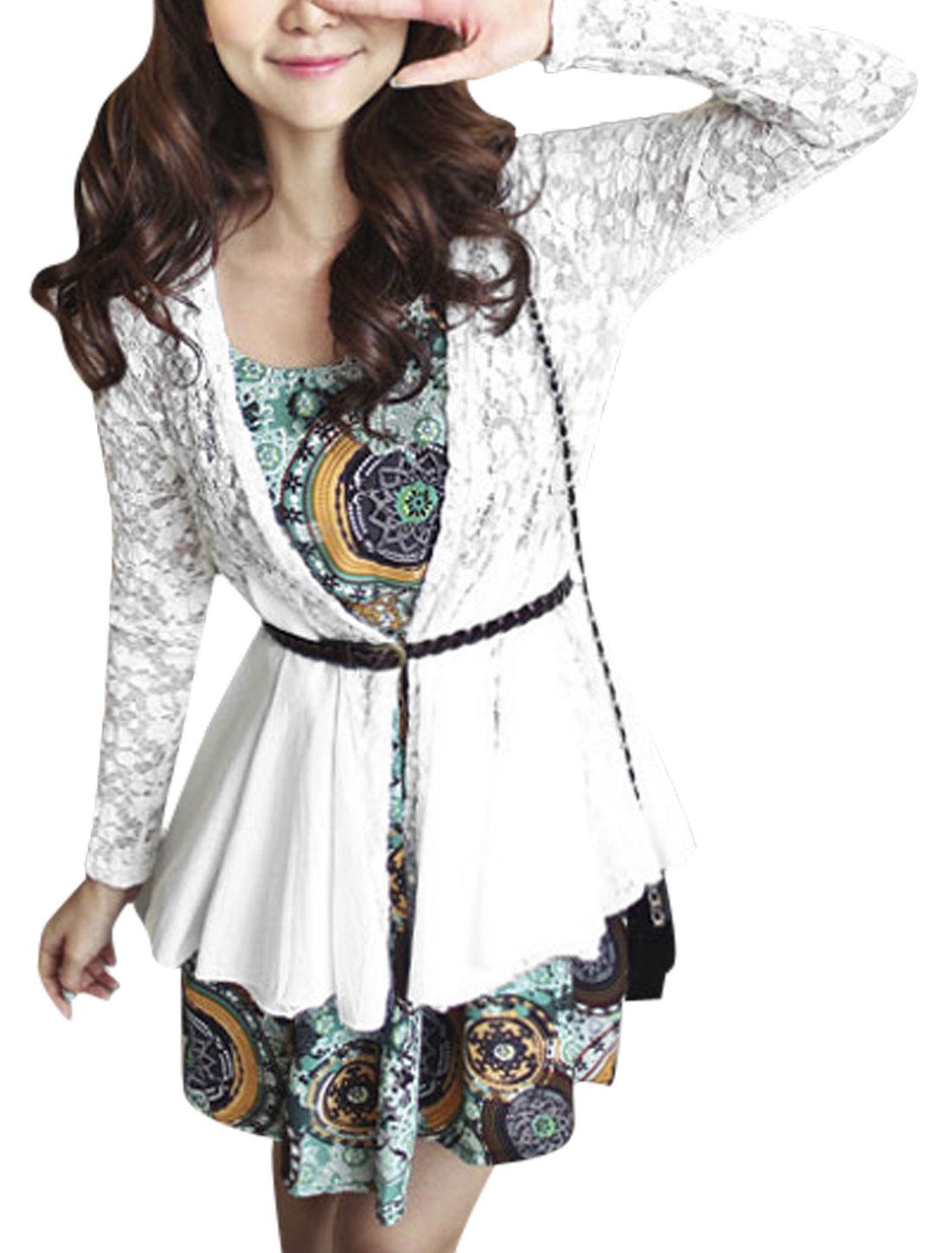 Lady Ruffle Hem Long Sleeve Lace Panel Casual Cardigan White XS