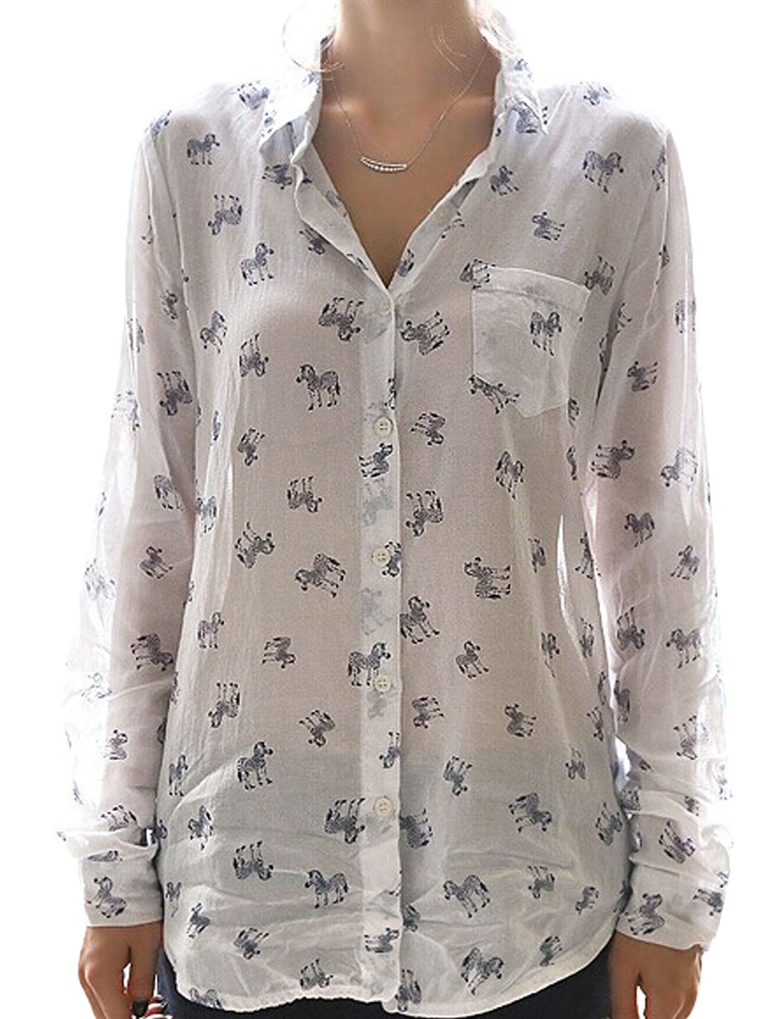 Women Zebra Pattern Single Breasted One Bust Pocket Semi Sheer Shirt White S