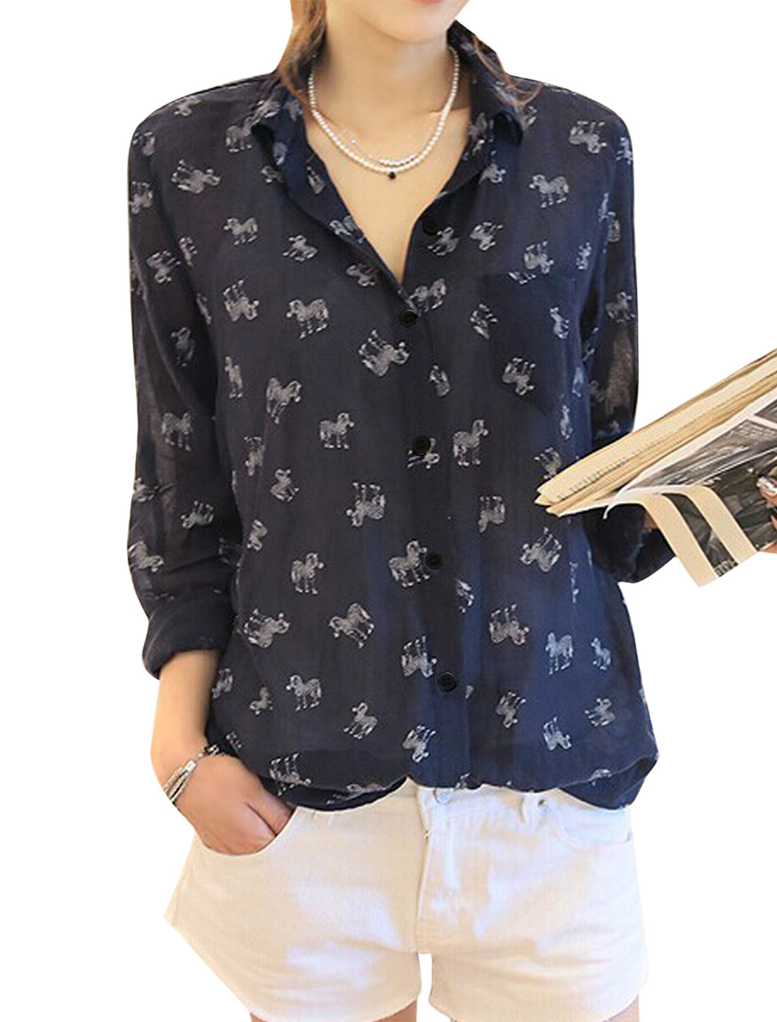 Lady Button Closure Front Zebra Pattern Round Hem Leisure Shirt Navy Blue S