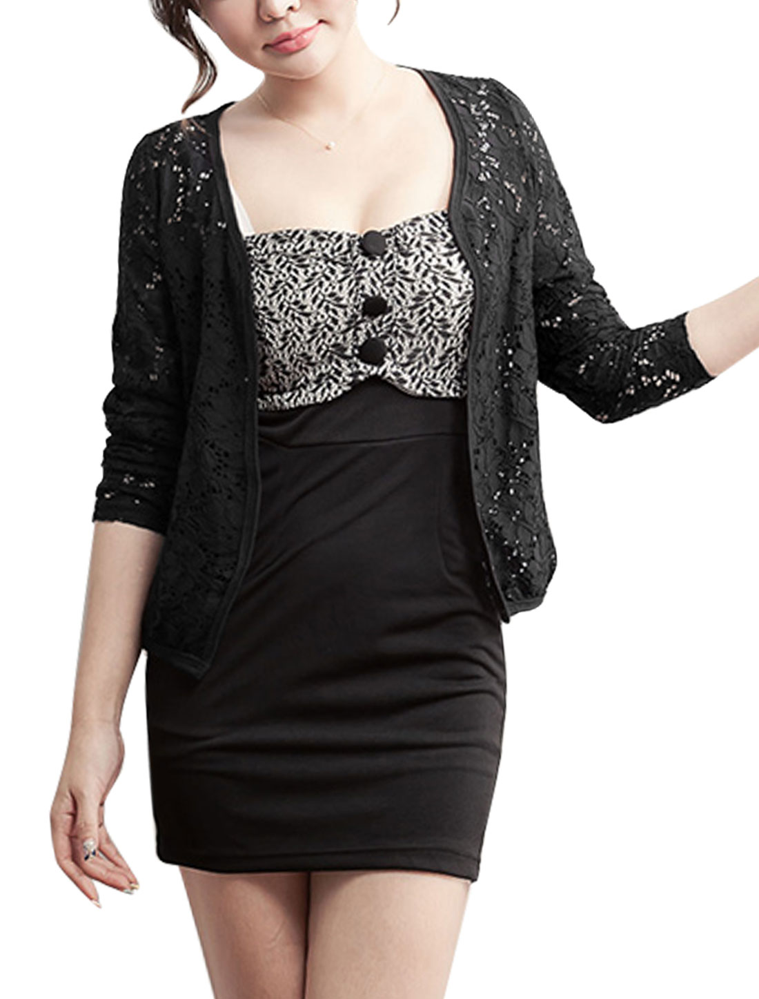 Women 3/4 Sleeves Buttonless Front Lace Cardigan Black XS
