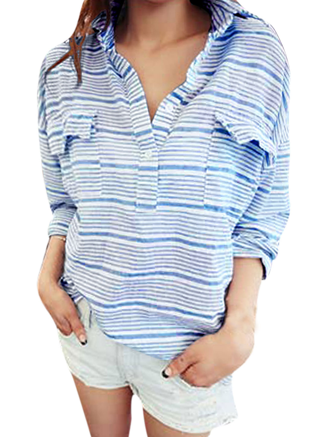 Lady Point Collar Batwing Sleeve Bar Striped Shirt Sky Blue White XS