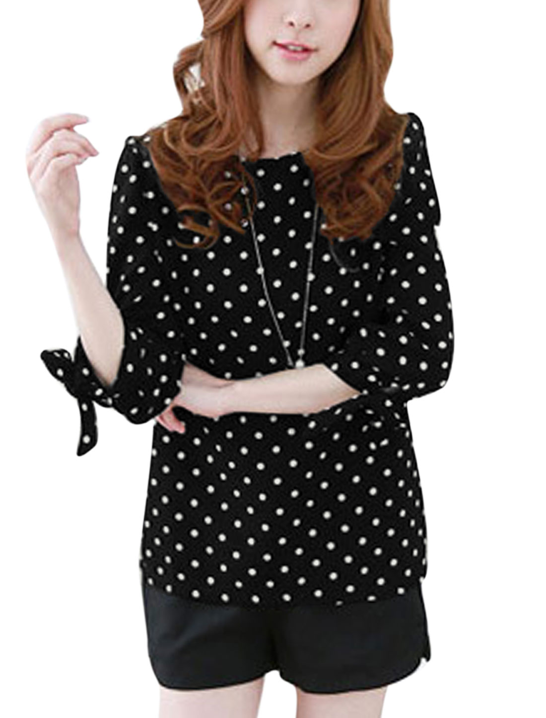 Women Dots Pattern 3/4 Sleeves Round Neck Casual Shirt Black M