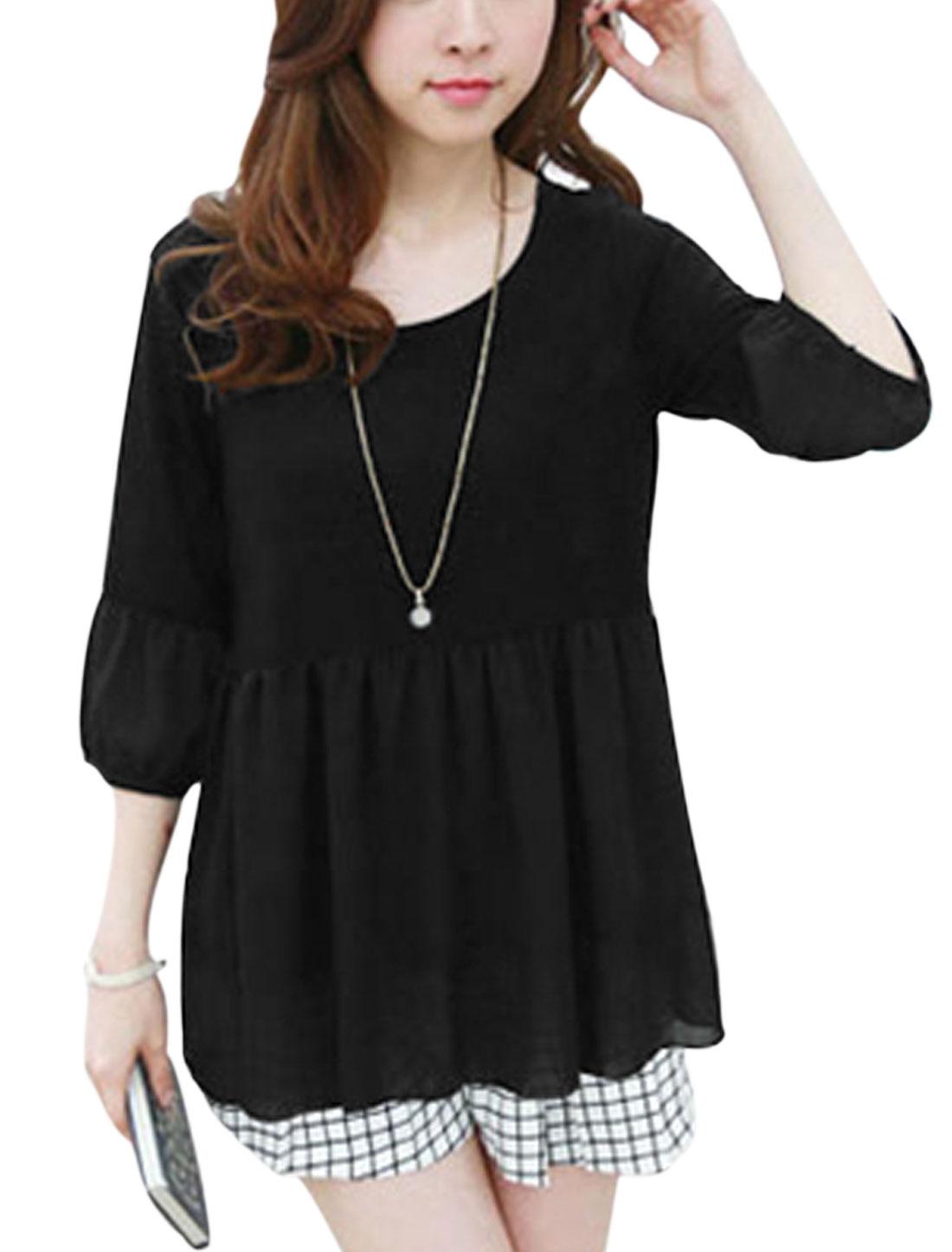 Lady 3/4 Sleeves Chiffon Panel Cuff w Hem Tunic Blouse Black S
